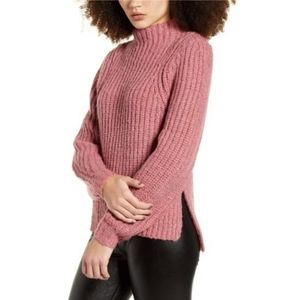 Leith Mock Neck Chunky Knit Sweater Pink XL